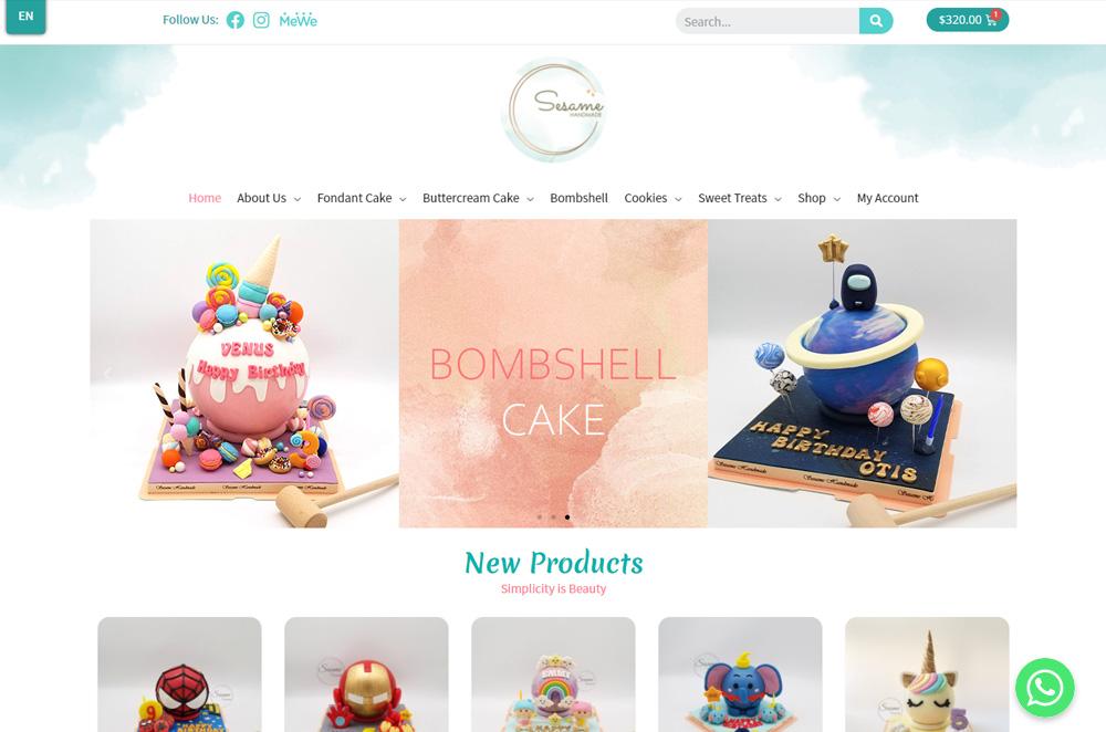 sesamehandmade online shop design